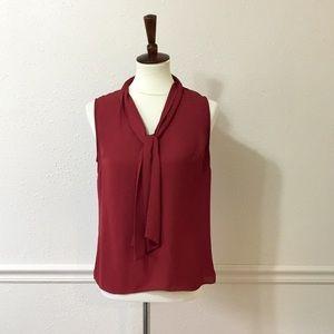 LAUNDRY BY SHELLI SEGAL Maroon Silk Feel Blouse